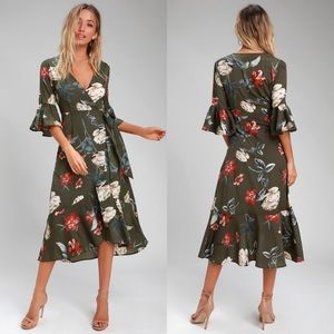 LULUS Love and Light Olive Green Floral Wrap Dress